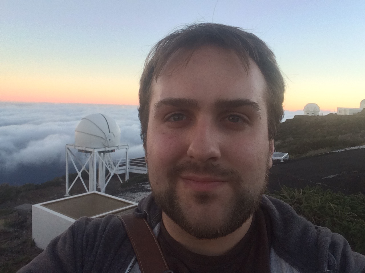 Stood by the William Herschel Telescope at the Roque de los Muchachos Observatory, La Palma as the Sun rises.