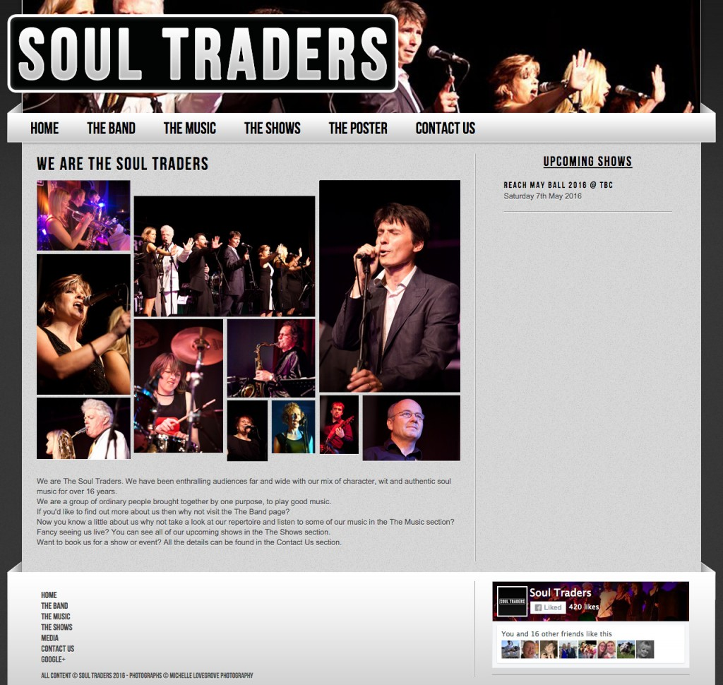 The old homepage of the soul traders site.